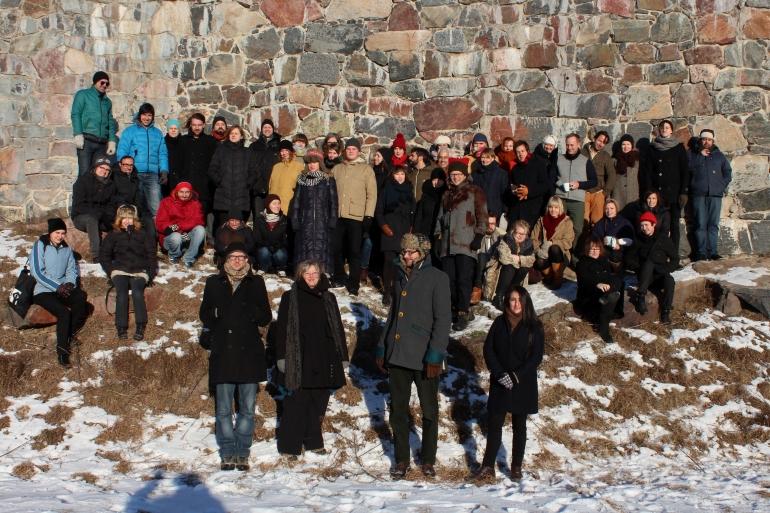 Frontiers in Retreat partners and artists on Soumenlinna Island, Helsinki, January 2014.
