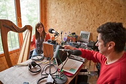 Ingrid Henderson playing clarsach in Outlandia for the Remote Performances radio broadcasts with Resonance 104.4fm
