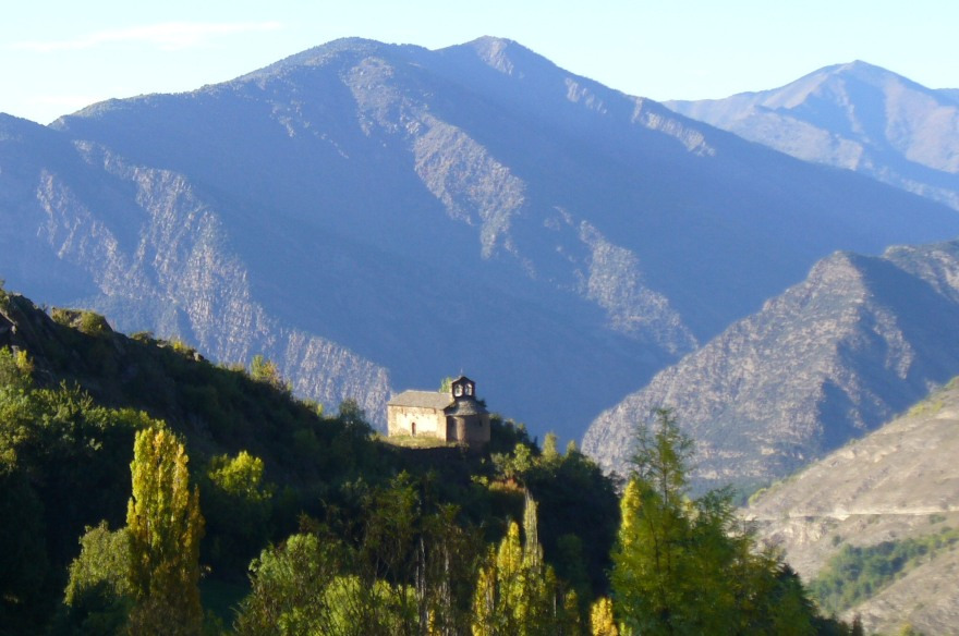 View from Farrera in the Catalan Pyrenees to the village of Alendo