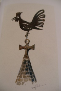 Dag Peterson's watercolour of the Cockerel on Farrera's Bell Tower