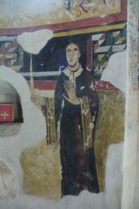 11th century fresco of Llucia de la Marca by the Master of Pedret in the church of Sant Pere del Burgal near Escalo in the Pyrenees