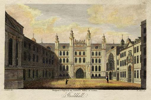Guildhall._Engraved_by_E.Shirt_after_a_drawing_by_Prattent._c.1805.