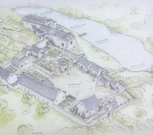 Lamphey Bishops Palace drawing